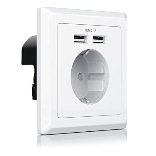 CSL - USB Steckdose mit 2 x Anschlüssen - max Ladestrom 2.1A - Schuko-Schutzkontakt-Steckdose - bis zu 2100mA Ausgangsstrom