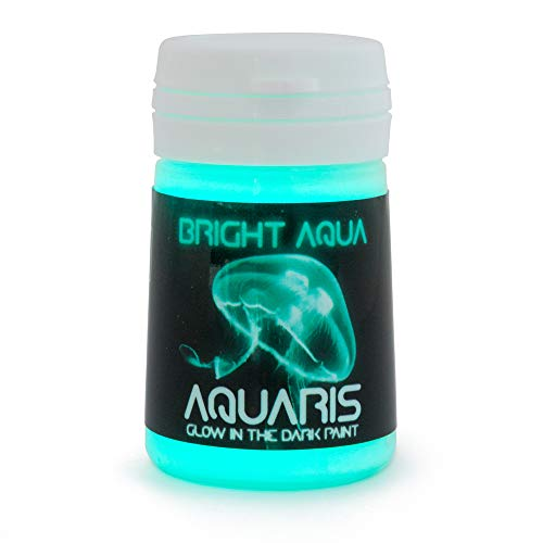 Pintura que Brilla en la Oscuridad, Aquaris (20ml), Color Aqua brillante (azul claro/turquesa) de SpaceBeams