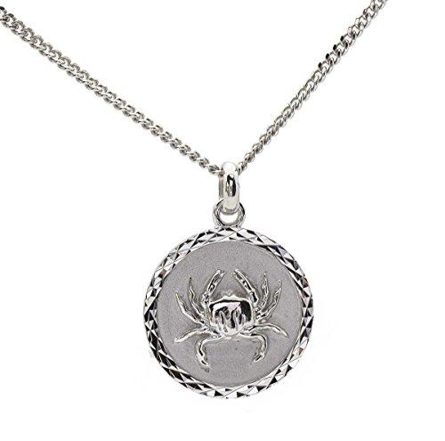 Anhänger mit astrologischem Sternzeichen, Krebs, Medaille und Kette aus massivem Sterling-Silber 925, mit Box Personalisierbar.