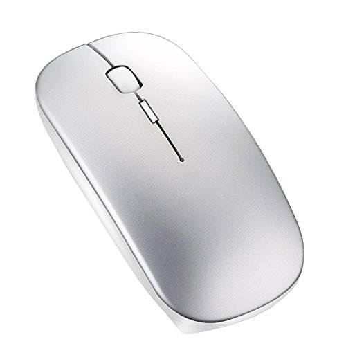 Bluetooth Mouse for Macbook Pro - Silent Rechargeable Wireless Bluetooth Mouse for Laptop/Computer/Macbook Air/iPad Pro/iPad/Tablet/PC Portable Design Long Batter Life, 800/1200/1600 DPI Silver