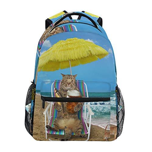 Ahomy Schulrucksack Buchtasche für Teenager Mädchen Jungen Katzenschirm Fisch Strandkorb Meer Hund Reiserucksack Umhängetasche für Damen Herren