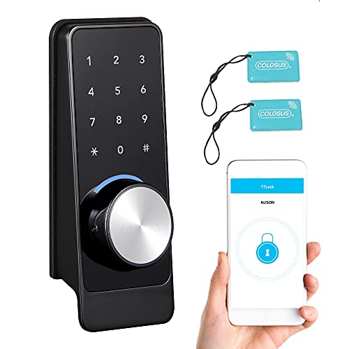 COLOSUS NDL629 Keyless Electronic Trusted Deadbolt Smart Door Lock, Touchscreen Keypad – Use App to Control and Grant Access to Home, Office, Rental Property, Businesses (Black - 2 Key Fobs)