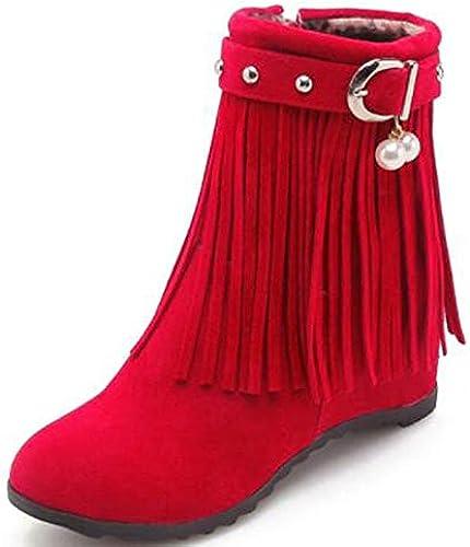 ZHZNVX Woherren schuhe Suede Spring &Fall Combat Stiefel Stiefel Heterotypic Heel Round Toe Stiefelies Ankle Stiefel Pearl Buckle   Tassel Beige Gelb   rot