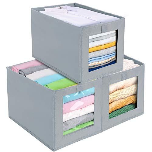 DIMJ 3 Stück Aufbewahrungsboxen, Faltbox mit Transparentem Sichtfenster Faltbare Aufbewahrungskiste mit Schlaufe für Kleiderschrank, Kleidung, Bücher, Kosmetik, Spielzeug usw. (Hellgrau)