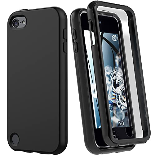 iPod Touch 7 Case, iPod Touch 6 Case, Shockproof Silicone Case [with Built in Screen Protector] Full Body Heavy Duty Rugged Defender Cover for Apple iPod Touch 7th/6th/5th Generation (Black)