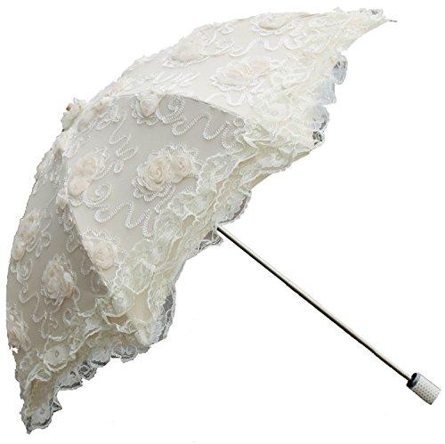 Honeystore Vintage Sun Umbrella 2 Folding Bridal Wedding Lace Parasol Decoration Ivory