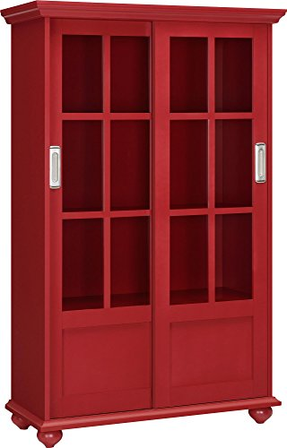 Altra Aaron Lane Bookcase with Sliding Glass Doors, Red