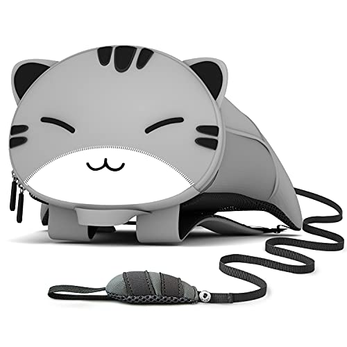 NOHOO Toddler Backpack Leash Kids Backpack with Safety Harness, Mini Cute Cartoon Animal Neoprene Waterproof Travel Book Bag for Baby Boys Girls 2~6 Years (Cat)
