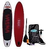 BYCDD Tabla de Paddle Surf Hinchable, Stand up Paddle Board portátil Kayak Paddle Board con la Paleta Ajustable, Aleta, Bomba de Mano, Mochila y Kit de reparación,Red_365X82X15CM