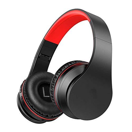 LXY Kabellose Kopfhörer, Ohrbügel, kabellos, zusammenklappbar, Mikrofon & Lautstärkeregler, wasserdicht, Rauschunterdrückung, für Handy/Laptop/PC/TV (Farbe: grau-rot)