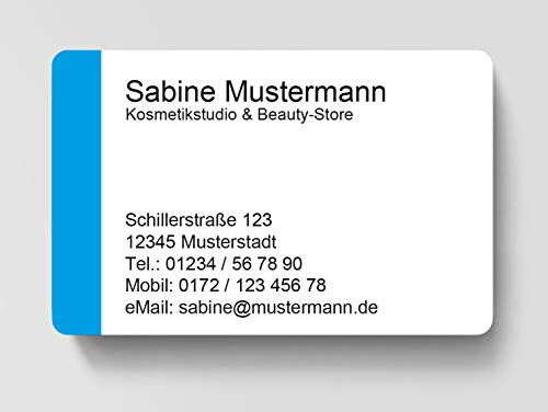 100 Visitenkarten, laminiert, 85 x 55 mm, inkl. Kartenspender - Easy Cyan