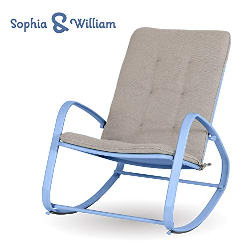 Sophia and William Outdoor Patio Rocking Chair Padded Steel Rocker Chairs Support 300lbs, Blue