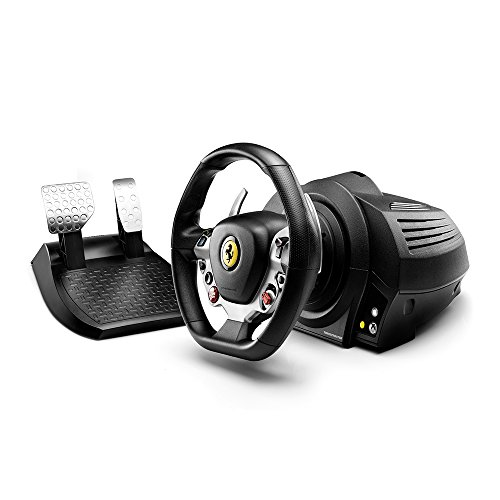 THRUSTMASTER TX Racing Wheel Ferrari 458 Italia Edition (Volante incl. 2-Pedali, Force Feedback, 270° - 900°, Eco-System, Xbox One / PC), Nero, 1