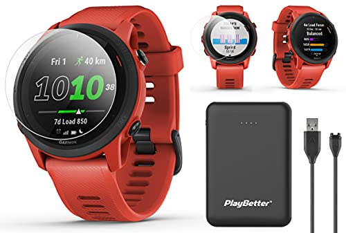Garmin Forerunner 745 (Magma Red) Power Bundle | with PlayBetter Portable Charger & HD Screen Protectors | Running & Triathlon GPS Smartwatch | Heart Rate, Built-in Sports Apps, Music | 010-02445-02