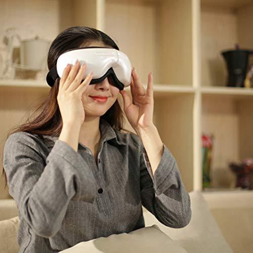 Masajeador De Ojos Masajeador De Ojos Inalámbrico con Música con Calefacción, Alivia La Fatiga Y Mejora El Síndrome del Ojo Seco,Blanco