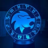 Acuario noche luz para niñas habitación decoración luz LED 16 colores cambiantes acrílico 3D noche regalo doce constelación lámpara USB