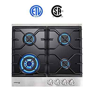 """24"""" Built-in Gas Cooktop, GASLAND Chef GH60BF 4 Burner Gas Hob, 24 Inch NG/LPG Convertible Natural Gas Propane Cooktops, 4 Burner Gas Stovetop with Thermocouple Protection, Black Tempered Glass"""