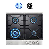 24' Built-in Gas Cooktop, GASLAND Chef GH60BF 4 Burner Gas Hob, 24 Inch NG/LPG Convertible Natural Gas Propane Cooktops, 4 Burner Gas Stovetop with Thermocouple Protection, Black Tempered Glass