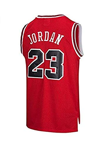 SHOP YJX Hombres NBA Michael Jordan No.23 Baloncesto Jersey Chicago Bulls Retro Aptitud Mangas De Deportes Top (Color : Red, Size : XXL)