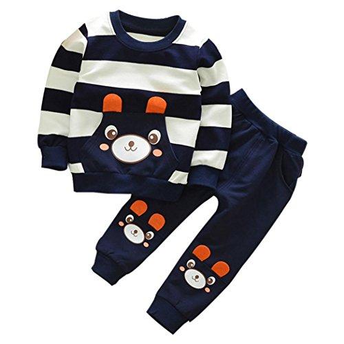 FNKDOR 2-5 Jahre Kinder Baby Mädchen Jungen Kleidung Gestreiften Bär Langarmshirt + Hosen Outfits Set(5 Jahre,Navy)