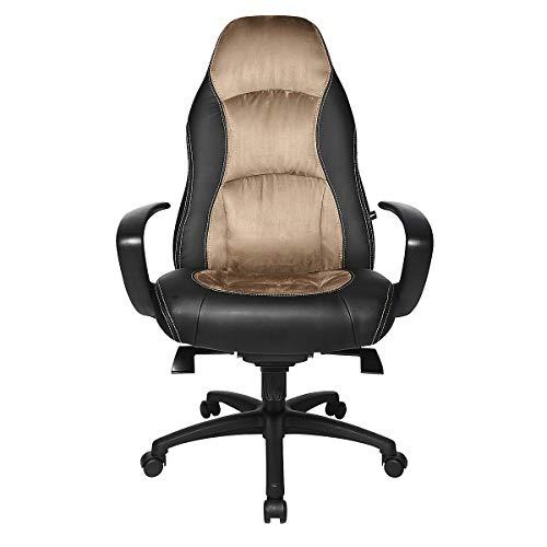 Topstar Drehsessel - Kunstleder/Mikrofaser - schwarz/braun - Bürodrehstuhl Bürodrehstühle Chefsessel Chefstuhl Chefstühle Drehsessel Drehstuhl Drehstühle Ledersessel Lederstuhl Lederstühle Sessel