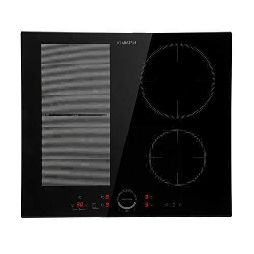Klarstein Delicatessa 60 Hybrid Placa cocina - Placa induccion 7000W Vitrocerámica inducción empotrable, 4 zonas, Panel tactil, Flexzone, Sensor sartenes, Autoapagado, Placas de induccion, Antracita