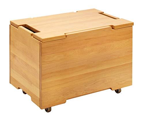 BioKinder 25297 Kai houten kist opbergkist met deksel en wielen grote massief houten elzen 40 x 60 x 37,5 cm