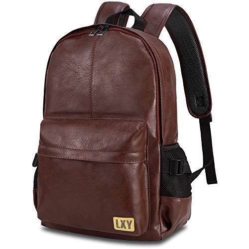 Vintage Backpack Leather Laptop Bookbag for Women Men, LXY Vegan Backpack Black Faux Leather Bookbag School College Campus Backpack Travel Daypack
