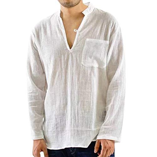 CICIYONER Herren Hemd Casual Langarm Leinenhemd Henley Shirt Daily Look Leinenhemden Sommer Tops Schwarz Weiß Marine M L XL XXL XXXL