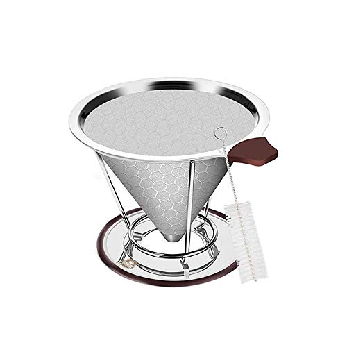 Dciustfhe Coffee Dripper, Reusable Steel Pour Over Coffee Filter with Cup Stand and Cleaning Brush, for Most Coffee Pot, Mug Easy to use and clean