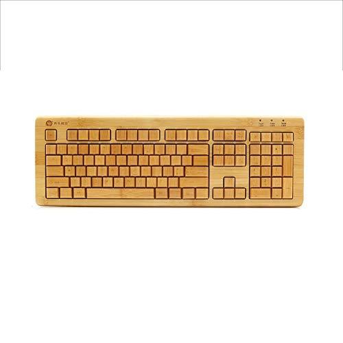 WPCBAA Bamboe hout maken USB bedrade toetsenbord mute stille home office spel typen