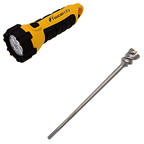 Toucan City LED Flashlight and Kateya 1.75 in. x 24 in. Carbide Tipped SDS Max Boring Drill Bit 175CTBK24