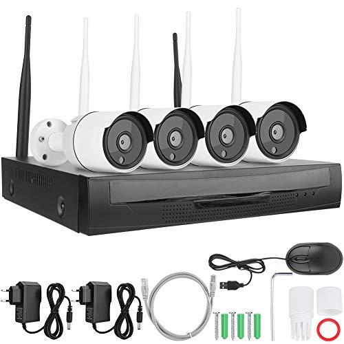 zcyg Cámara Cámara de vigilancia Cámara de Seguridad Cámara De Vigilancia, 4CH 1080P NVI Inalámbrico WiFi Conjuntos Cámara HD CCTV Kit Sistema DE Seguridad 110-240V Enchufe De La UE