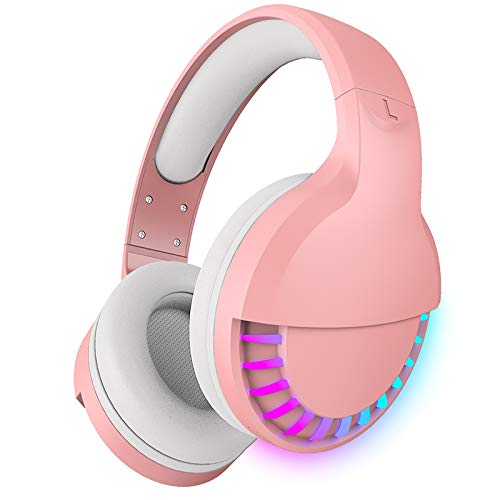 Wireless Bluetooth Headphone with Noise Cancellation HiFi Stereo Sound Mic Deep Bass Protein Earpad Rainbow RGB Backlight Rechageable Over Ear Headset for PC Mac Game Travel Class Home Office (Pink)