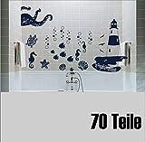 Set 70 Stk. 'Badezimmer Aufkleber Leuchttum Krake Seepferdchen Möwen Segelboote' Wandtattoo Fliesentattoo im Mix 30 - 2,5 cm Sticker Fisch Muschel Maritim