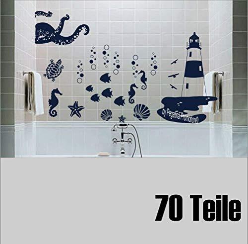"""Set 70 Stk. \""""Badezimmer Aufkleber Leuchttum Krake Seepferdchen Möwen Segelboote\"""" Wandtattoo Fliesentattoo im Mix 30 - 2,5 cm Sticker Fisch Muschel Maritim"""