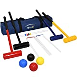 Big Game Hunters 208 Lawn Croquet Set 4 Player 77 Centimetre Long Mallets in a Strong Durable Zipped Bag