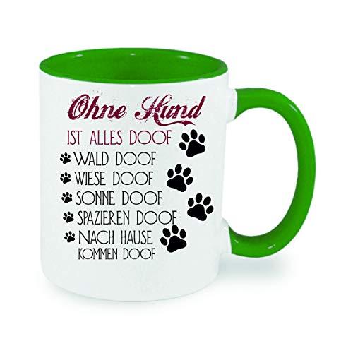 crealuxe Ohne Hund ist Alles doof - Kaffeetasse mit Wunschname, Bedruckte Tasse mit Sprüchen oder Bildern, Bürotasse,