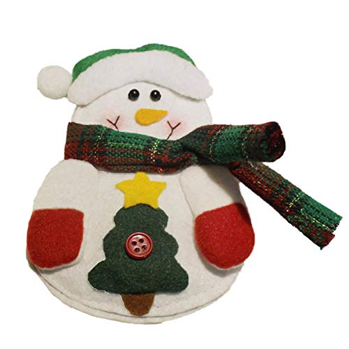 Oinna 1 cuchillo y tenedor de peluche de Navidad exquisito cuchillo de Navidad y tenedor, juego de vajilla para decoración navideña (muñeco de nieve)