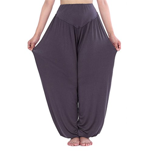 HOEREV Super Soft Modal Spandex Harem Yoga/ Pilates Pants black, XL