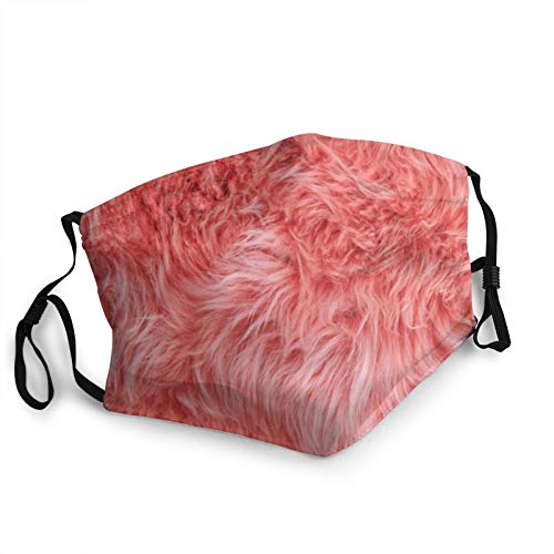 Coral Colored Sheepskin Rug Background Men's and Women's Mouth Face Mask Anti Breathable Filter Dust Absorb Sweat Washable Reusable Masks for Cycling Camping Ski Travel Outdoor