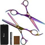 SKEY Haarschere Profi Friseurscheren Set - Premium Haarschneideschere 2 Stück Zahnschere und Scharfe Friseurschere ausdünnen für Damen und Herren