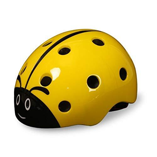 HUAGE Casco Infantil-Ladybug Dibujos Animados Seguridad Protección de Seguridad Medio Casco Desmontable Casco (Color : Yellow)