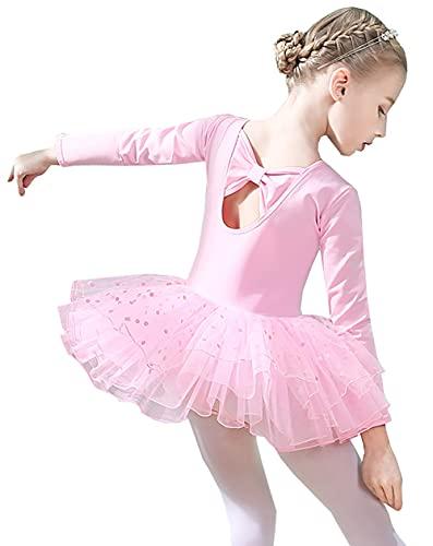 ZRFNFMA Kinder Tanzkleidung Langarm Mädchen Ballett Röcke Mädchen Kinder Winter Dance Röcke Tanzkleidung Kleid rosa 120cm