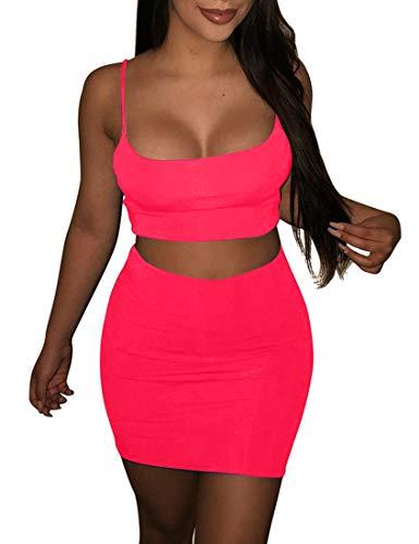 BORIFLORS Women's Sexy 2 Piece Outfits Strap Crop Top Skirt Set Bodycon Mini Dress,X-Small,Watermelon Red