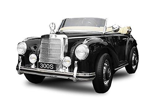 Toyas Mercedes Benz 300s Oldtimer Lizenz Kinderfahrzeug mit 2X 35W Motor Kinderauto Elektroauto Fernbedienung MP3 Anschluss in Schwarz