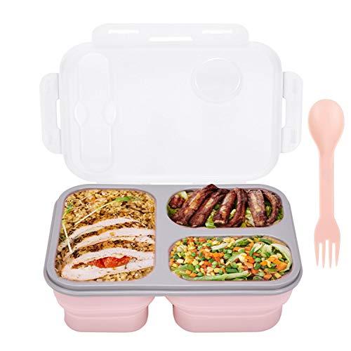 Bento Box - Caja de almacenamiento plegable de silicona para alimentos, con tres compartimentos, cuchara y tenedor, se puede utilizar para viajes, camping, lavavajillas, microondas y frigorífico.