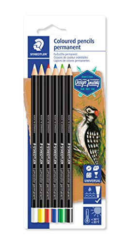 STAEDTLER Permanent Colored Pencils, Pre-Sharpened, Perfect for Light and Dark Paper, Set of 6, 10820BK6-C, Multicoloured (10820BK6-CST)
