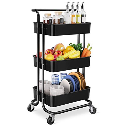 Homemaxs 3 Tier Rolling Utility Cart, Kitchen Cart Storage Shelves with Roller Wheels and Handles,...