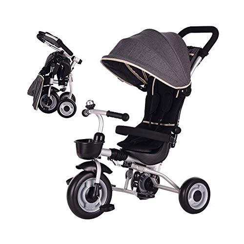 WENJIE Valla Niños Bicicleta Cochecito De Bebé Plegable Triciclo Niños De Seguridad Presentes Toldo Y Muchacha Juguete Coches De Cumpleaños (Color : Gray)